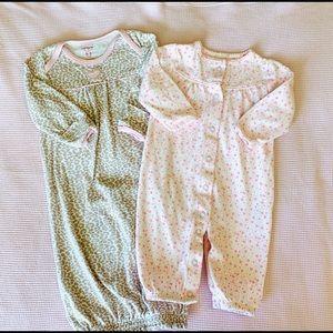 Carter's 0-3 Month Girls Cotton Gown/Sleeper Sack